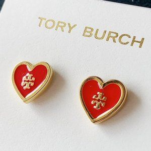 Tory Burch-logo red heart earrings